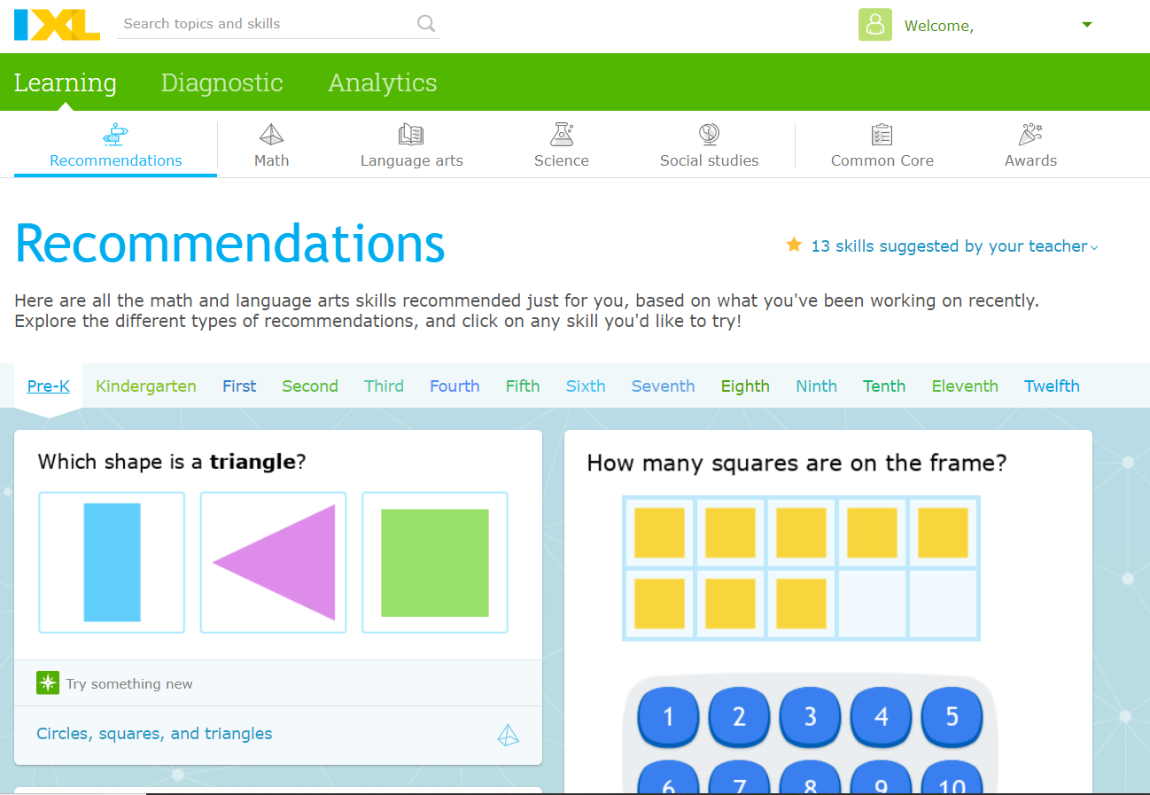 Screenshot from the IXL Platform with Sample Questions
